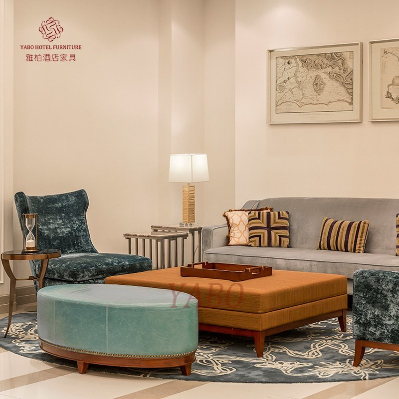 Casual Lobby Area/Public Area/ Living Room Sofa with armchair and stool set use in Hotel HL-2-1