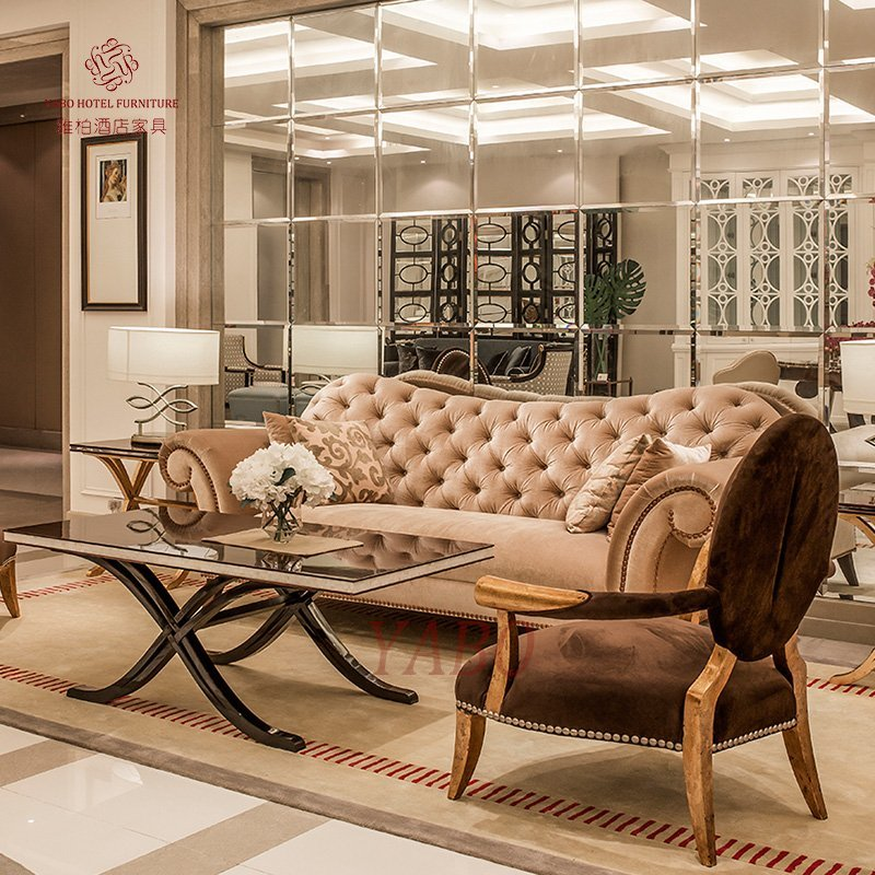 Luxury Lobby Flannel Sofa Set Furniture with Golden Painted Armrest and Foot YB-104