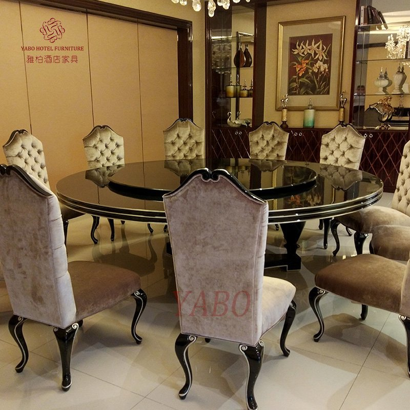 Clsasical Hotel Restaurant Round Dining Table with Fabric Chair Furniture Set-YB-R-18-1