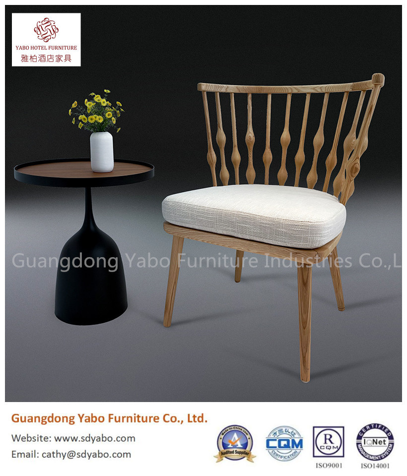 Grace solid wood fabric chair for hotel lobby or restaurant chair