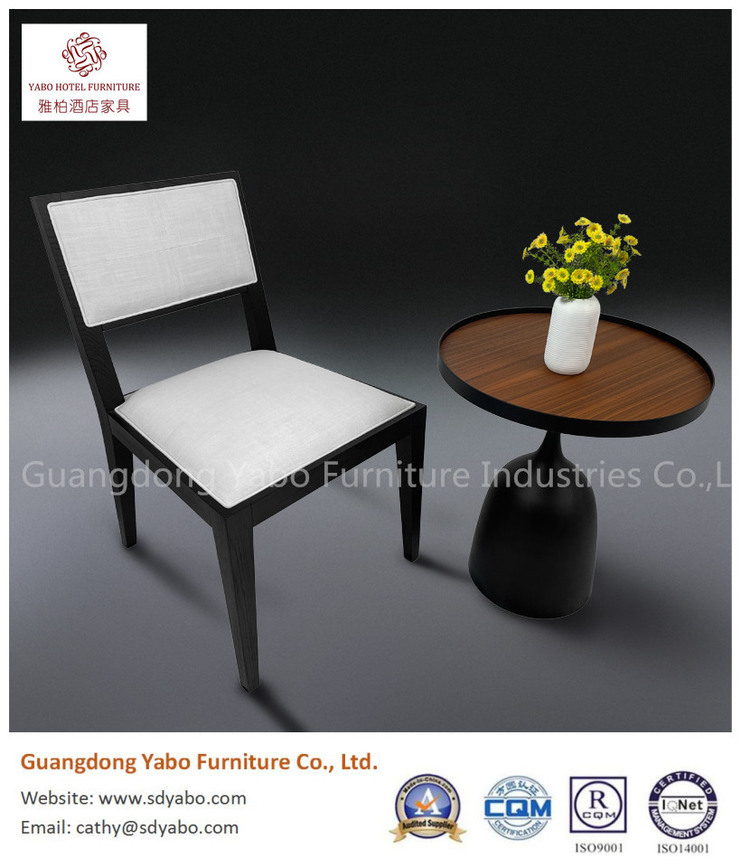 simple solid wood fabric dining chair for restaurant or hotel