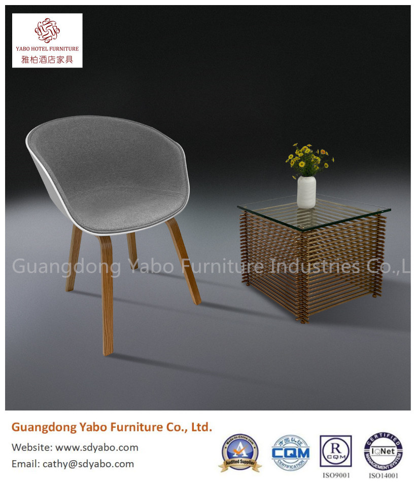 Elegant solid wood PVC with fabric upholestry restaurant dining chair
