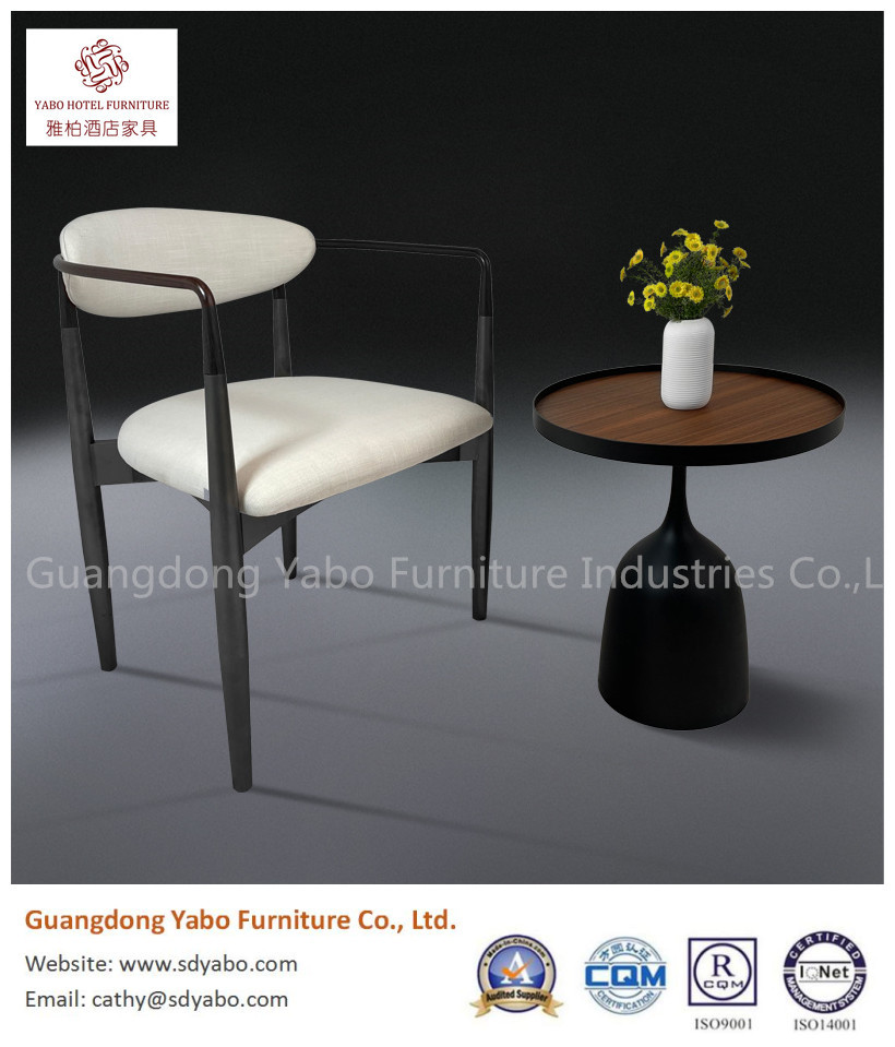 Graceful metal with wooden grain fabric restaurant dining chair