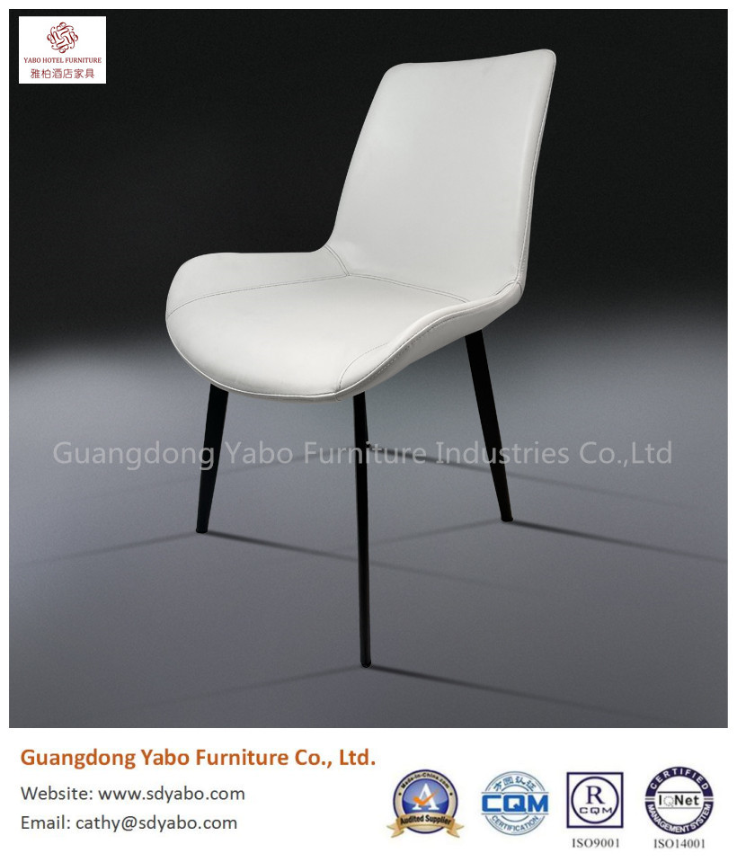 Graceful simple metal leather restaurant dining chair