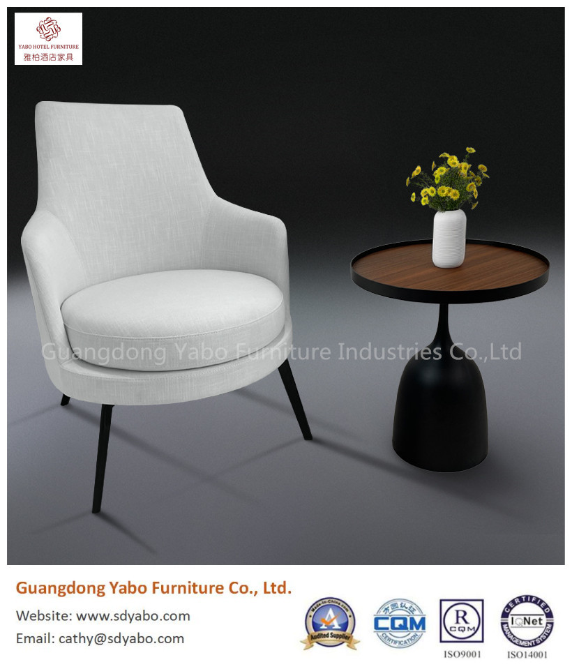 Elegant iron leg with fabric upholestry lounge sofa chair for hotel room
