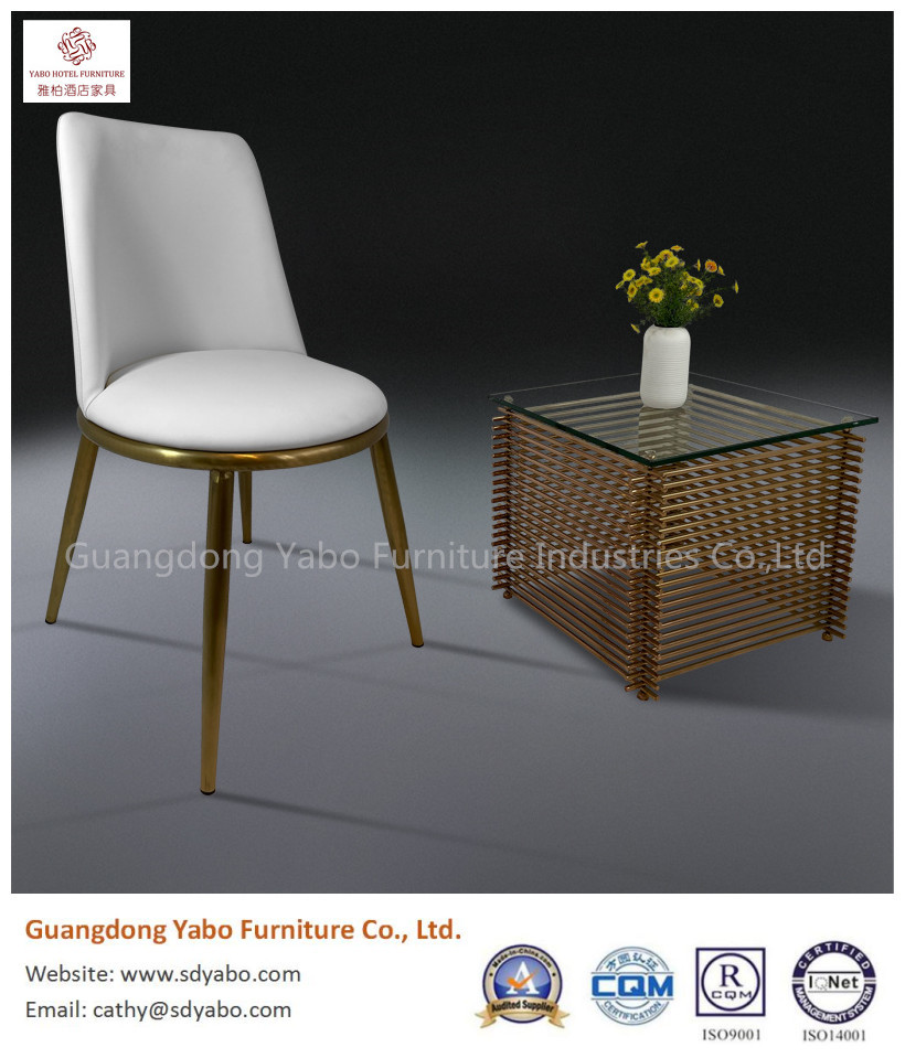 Elegant simple color stainless steel leather chair hotel public area furniture