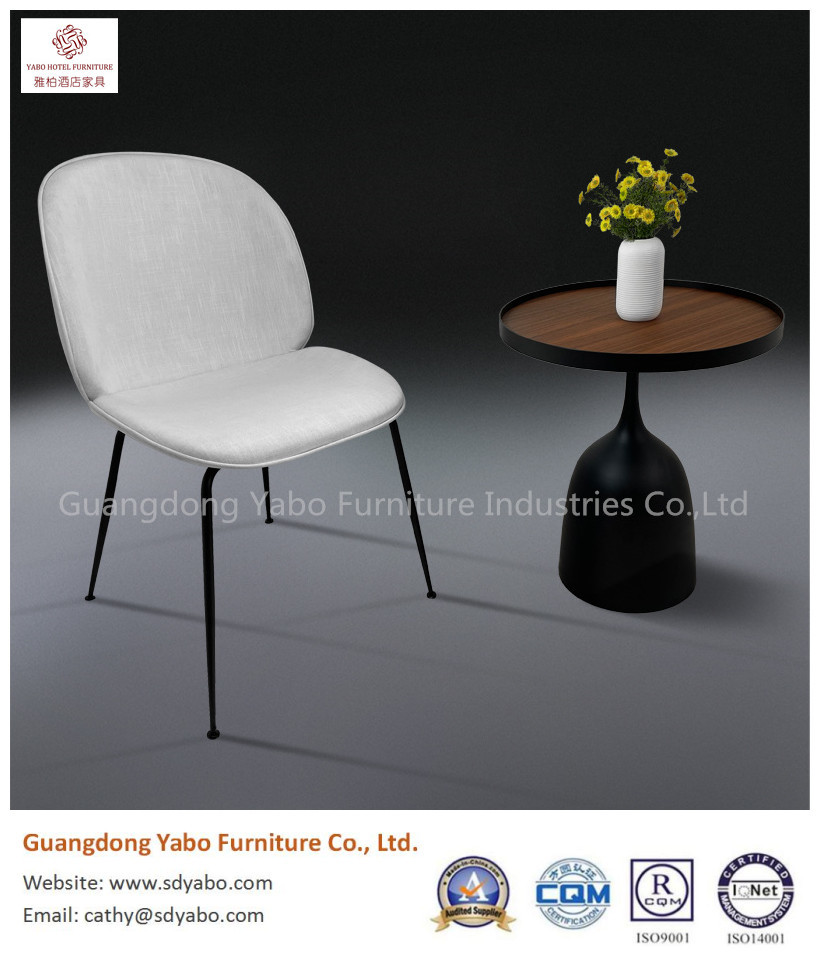 simple metal fabric restaurant dining chair