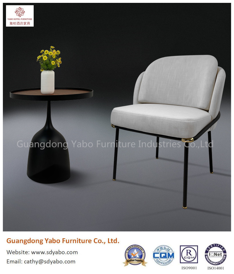 beautiful metal powdercoat leg with fabric upholestry chair for restaurant and hotel